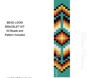 KIT FOR Tribal Bead Loom or Peyote Bracelet - Bead Loom Kit for Delica Beads P1, Tribal Peyote Kit for Delica Beads
