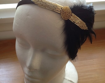 Gold Flapper Style Headband Art Deco beading with Black Feather Fascinator