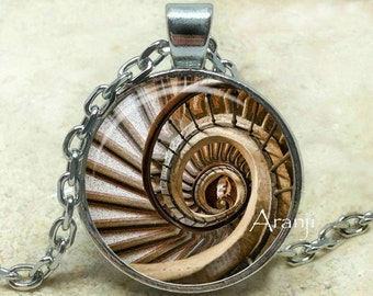 Spiral staircase art pendant, spiral staircase necklace, spiral pendant, stairway pendant, spiral necklace, Pendant #PA105P