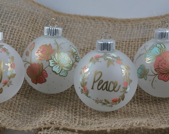 Hand Painted Flower Wreath Ornaments