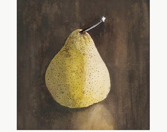 Sale! Solitary Pear still life watercolor illustration limited edition print