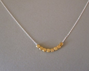 Gold Nugget on Silver Necklace
