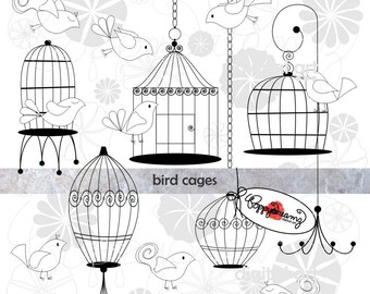 Bird Cages: Clip Art Pack (300 dpi transparent png) Wedding Baby Bridal Shower Clipart Digital Black White & Gray Elements