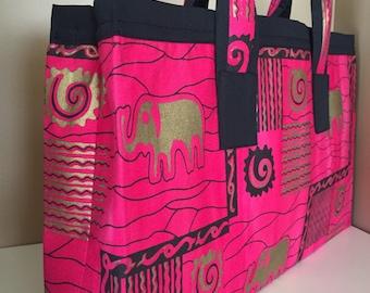 Fabric purse, UNIQUE handbag, Handmade purse, one of a kind purse, OOAK handbag, print purse, Woman's bag, pink purse, elephants