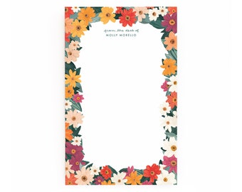 Meadow Personalized Notepad, Illustrated Floral Personalized Stationery Notepad