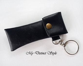 Men's Black Faux Leather Fabric Lip Balm Holder with Keyring, Lip Balm Cozy, Chapstick Holder