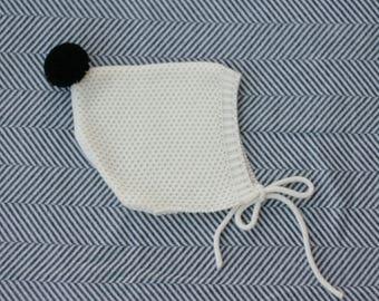 Newborn pixie hat - knitted toddler bonnet - Pixie infant hat - Knitted hat children - Pompom infant hat - Children knit hat
