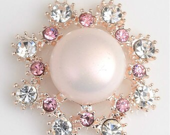"""25mm, 1"""", Pearl Buttons, Pink Rhinestone Buttons, Flat Back, Rhinestone Embellishments, Crystal Buttons, Wholesale Rhinestones, 1PC"""