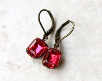 Deep Pink Rhinestone Earrings, Pink Petites, Dark Rose, Vintage Jewel Earrings, Estate Style