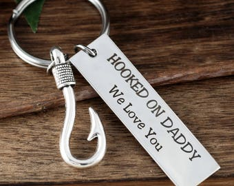 Hooked ON Daddy Key Chain, Keychain for Him, Personalized Engraved Keychain, Father's Day GIft, Keychain For Dad, FIshing Keychain