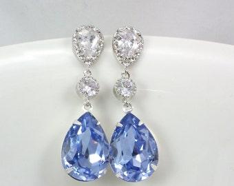 Bridesmaid Earrings, Bridal earrings, Swarovski Crystal Light Sapphire Sterling Silver post weddings blue weddings jewelry, bridesmaid Gift