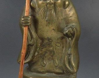 Antique Chinese Bronze Wise Man w/ Walking Stick Shou Lao God Figurine