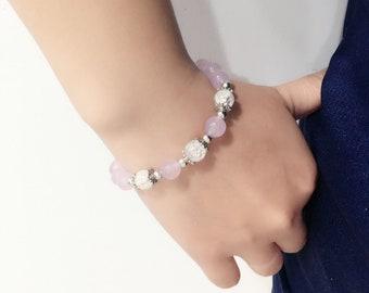 Chalcedony Bracelet Gemstone Bracelet Beads Bracelet Stone Bracelet Women Jewelry Girls Gift Crystal Bracelet Purple Bracelet Natural Stone