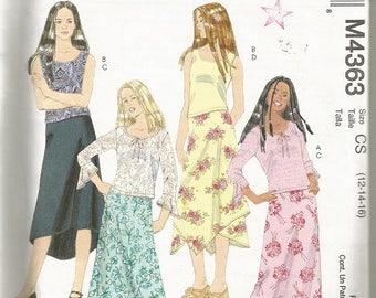 McCall's 4363  Girls Skirt & Top Pattern SZ 12-16