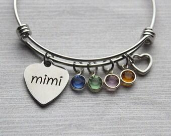 Mimi With Birthstones Bracelet, Mimi Bracelet, Mimi Gifts, Gifts For Mimi, Mimi Birthstone Bracelet, Mimi Jewelry, Mimi Family Bracelet
