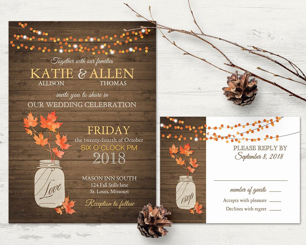 Rustic Fall Wedding Invitation Set | Fall Leaves Mason Jar Wedding Invite and RSVP String Lights Country Wedding | DIY digital printable