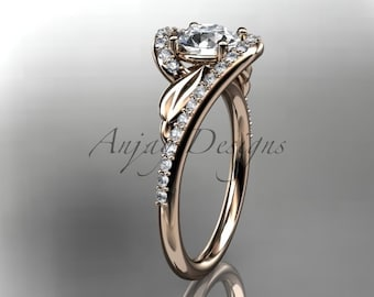 "Leaf bridal ring, 14k rose gold diamond leaf and vine wedding ring, engagement ring with a ""Forever One"" Moissanite center stone ADLR317"