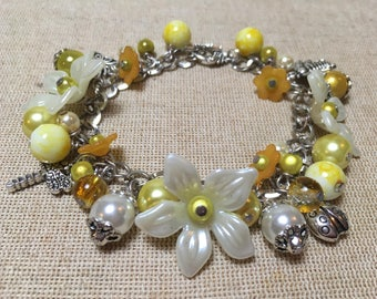 Ivory and yellow flower bead bracelet Mothers day