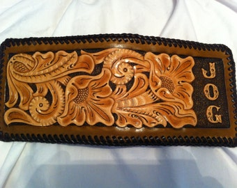 Personalized Hand-Tooled Leather Wallet / Cactus Flower