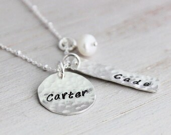custom hand stamped names, mothers keepsake necklace, rectangle name tag charms, gift for mom, kids names necklace