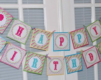 Carnival Happy Birthday Banner   Printable   Instant Download   Cotton Candy   Circus