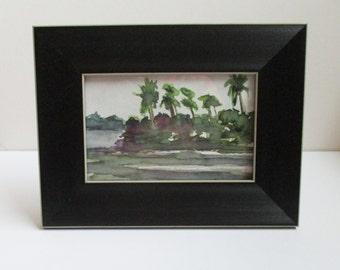 Small Watercolor Painting Framed Original Artwork Naples Florida Palms Painting Kathleen Daughan Western Avenue Massachusetts Artist