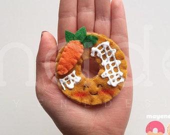carrot cake donut brooch with glaze, felt food pin