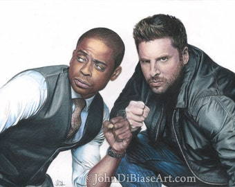 "Color Drawing Print of James Roday as Shawn Spencer and Dule Hill as Burton ""Gus"" Guster in TV's PSYCH (8.5 x 11)"