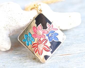 Art Nouveau Necklace - Enamel Flowers Diamond Shaped Pendant on Golden Chain - Vontage Jewelry - 80s Fashion