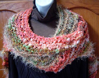 Aloha Hand Knitted Shawl Wrap A Split Rock Ranch OOAK Original Design Cashmere Merino Alpaca Mohair Silk Bamboo Sequins