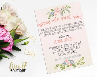 Rodan and Fields Invitation   Spring   Garden Party   Spring Into Great Skin   Personalized   Digital