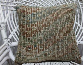 ottoman pillow cover 16x16 geometric kilim pillow vintage kilim pillow vegetable dyes Turkish kilim pillow floor cushion cover  2993