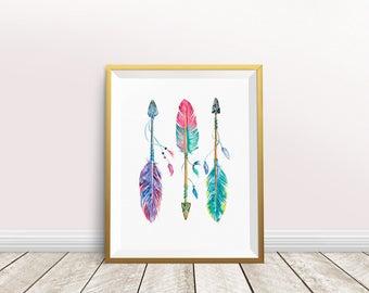 Boho Chic Nursery Wall Art, Boho Tribal Nursery, Arrows and Feathers Printable, Above Crib Decor, Kids Room Decor, Instant Download