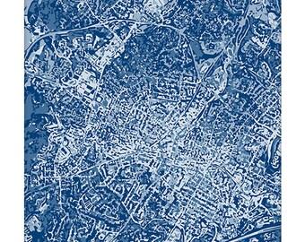 Charlottesville VA Cityscape / Virginia UVA Graphic City Map Art Print / 8x10 Grad Gift / Choose your color