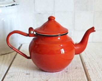 Cute Tiny Red Enamel Teapot || Kitchen Enamelware - Farmhouse decor - Rustic Home Decor - Retro Kitchen Decoration - Collectible Teapot