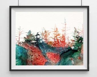 Watercolor Landscape Art Print - forest - Landscape Art Print - autumn