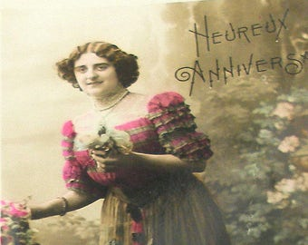 1900s French postcard, Lady with flowers. RPPC real photo postcard, paper ephemera