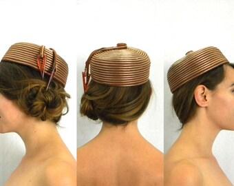 50s Striped Pillbox Hat   Brown Cording Round Hat   Miss Sally Victor, New York
