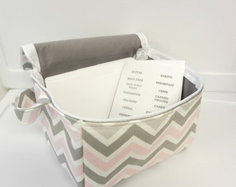 Super Large 6 inch Depth Fabric Coupon Organizer with  ZIPPER CLOSER  - Bella Chevron Pick your Size