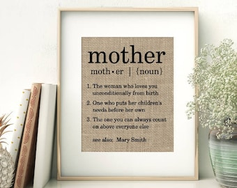 Definition of Mother   Personalized Mother's Day Gift From Children   Unique Birthday Christmas Gift Ideas for Mom Mommy Mama Momma