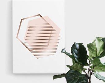 Blush Rose Gold Hexagon Print, Print Art, Geometric Art, Abstract Art, Scandinavian Print, Minimalist Art, Digital Art, Printable Art