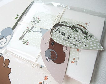 Greetings card, gift card 4 PACK set Poss and Wom