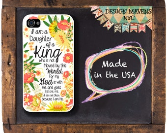 Floral Religious iPhone Case, Quote iPhone , Daughter of a King, Jeremiah 24:7, iPhone 5, 5s, 5c, iPhone 6, 6s, 6 Plus, SE, iPhone 7, 7 Plus