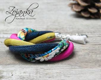 FABRIC bracelet, fashion accessories, fabric bracelet, spring fashion accessories, textile jewelry, gift idea, textile bracelet, boho