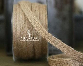 "4 yards of Woven Natural Burlap Ribbon 1/2"""