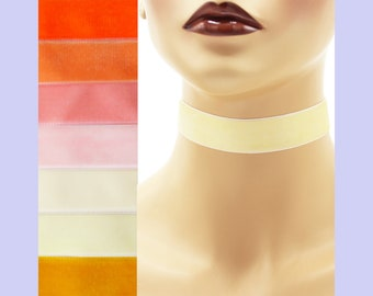 Yellow or Orange Velvet Choker 7/8 inch wide Custom made Your Length and Color shade (approximate width 0.875 inches;  22 - 23 mm) ivory +