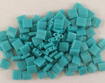 Miyuki Tila Beads, 5mm, Opaque Turquoise Green, TL0412, 5 Grams, Approximately 55 Beads, Japanese Glass
