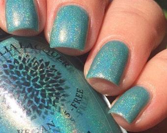 Neon Turquoise Jelly Holo Nail Polish Black Dahlia Lacquer - Blue Celosia