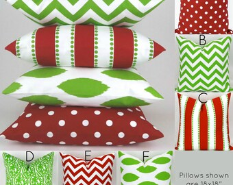 Christmas Throw Pillow Covers -MANY SIZES- Green Red Decorator Pillow, Accent Pillow, Holiday Decor, Cushions, Pemier Prints FREESHIP