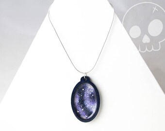 Necklace Galaxy Oval * Bois Painting Handmade * Star * Space * Nebula * Astronomy * Silver Sterling * Pendant * Constellation * Magic *
